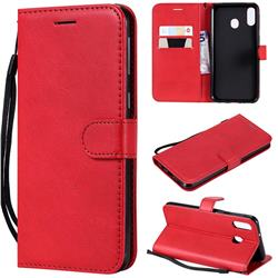 Retro Greek Classic Smooth PU Leather Wallet Phone Case for Samsung Galaxy M20 - Red