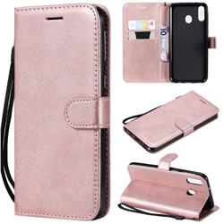 Retro Greek Classic Smooth PU Leather Wallet Phone Case for Samsung Galaxy M20 - Rose Gold