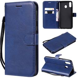 Retro Greek Classic Smooth PU Leather Wallet Phone Case for Samsung Galaxy M20 - Blue