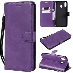 Retro Greek Classic Smooth PU Leather Wallet Phone Case for Samsung Galaxy M20 - Purple