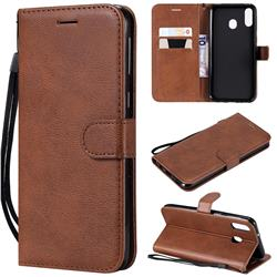 Retro Greek Classic Smooth PU Leather Wallet Phone Case for Samsung Galaxy M20 - Brown