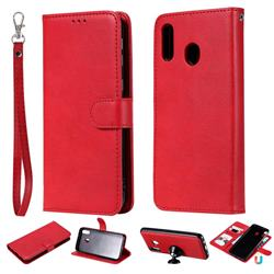 Retro Greek Detachable Magnetic PU Leather Wallet Phone Case for Samsung Galaxy M20 - Red