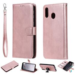 Retro Greek Detachable Magnetic PU Leather Wallet Phone Case for Samsung Galaxy M20 - Rose Gold
