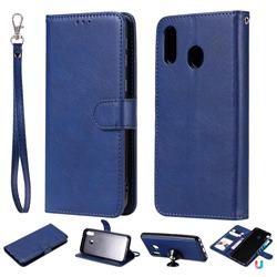 Retro Greek Detachable Magnetic PU Leather Wallet Phone Case for Samsung Galaxy M20 - Blue