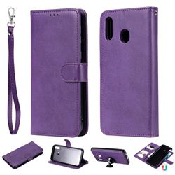 Retro Greek Detachable Magnetic PU Leather Wallet Phone Case for Samsung Galaxy M20 - Purple