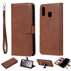 Retro Greek Detachable Magnetic PU Leather Wallet Phone Case for Samsung Galaxy M20 - Brown