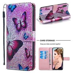 Blue Butterfly Sequins Painted Leather Wallet Case for Samsung Galaxy M20