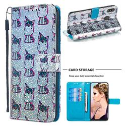 Little Unicorn Sequins Painted Leather Wallet Case for Samsung Galaxy M20