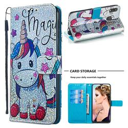 Star Unicorn Sequins Painted Leather Wallet Case for Samsung Galaxy M20