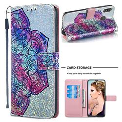 Glutinous Flower Sequins Painted Leather Wallet Case for Samsung Galaxy M20