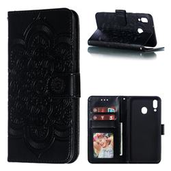 Intricate Embossing Datura Solar Leather Wallet Case for Samsung Galaxy M20 - Black