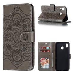 Intricate Embossing Datura Solar Leather Wallet Case for Samsung Galaxy M20 - Gray