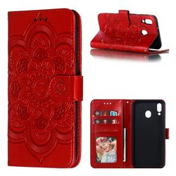 Intricate Embossing Datura Solar Leather Wallet Case for Samsung Galaxy M20 - Red
