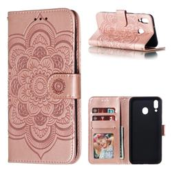 Intricate Embossing Datura Solar Leather Wallet Case for Samsung Galaxy M20 - Rose Gold