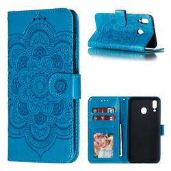 Intricate Embossing Datura Solar Leather Wallet Case for Samsung Galaxy M20 - Blue