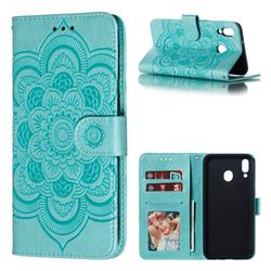 Intricate Embossing Datura Solar Leather Wallet Case for Samsung Galaxy M20 - Green