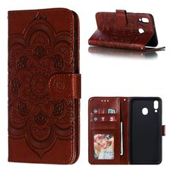 Intricate Embossing Datura Solar Leather Wallet Case for Samsung Galaxy M20 - Brown