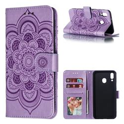Intricate Embossing Datura Solar Leather Wallet Case for Samsung Galaxy M20 - Purple