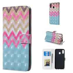 Color Wave 3D Painted Leather Phone Wallet Case for Samsung Galaxy M20