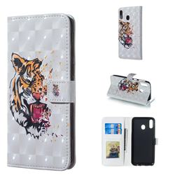 Toothed Tiger 3D Painted Leather Phone Wallet Case for Samsung Galaxy M20