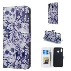 Skull Flower 3D Painted Leather Phone Wallet Case for Samsung Galaxy M20
