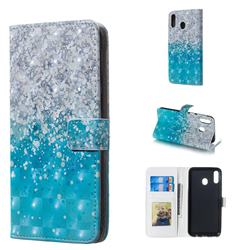 Sea Sand 3D Painted Leather Phone Wallet Case for Samsung Galaxy M20