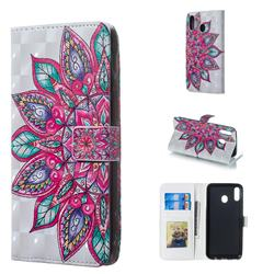 Mandara Flower 3D Painted Leather Phone Wallet Case for Samsung Galaxy M20