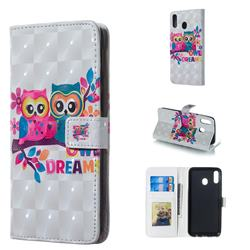 Couple Owl 3D Painted Leather Phone Wallet Case for Samsung Galaxy M20
