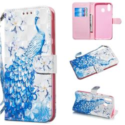 Blue Peacock 3D Painted Leather Wallet Phone Case for Samsung Galaxy M20