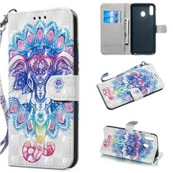 Colorful Elephant 3D Painted Leather Wallet Phone Case for Samsung Galaxy M20