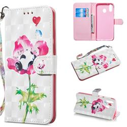 Flower Panda 3D Painted Leather Wallet Phone Case for Samsung Galaxy M20