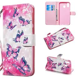 Pink Butterfly 3D Painted Leather Wallet Phone Case for Samsung Galaxy M20