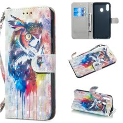 Watercolor Owl 3D Painted Leather Wallet Phone Case for Samsung Galaxy M20