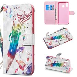 Music Pen 3D Painted Leather Wallet Phone Case for Samsung Galaxy M20