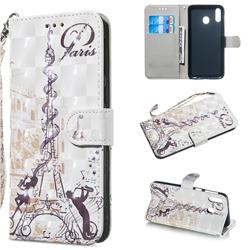 Tower Couple 3D Painted Leather Wallet Phone Case for Samsung Galaxy M20