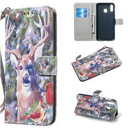 Elk Deer 3D Painted Leather Wallet Phone Case for Samsung Galaxy M20