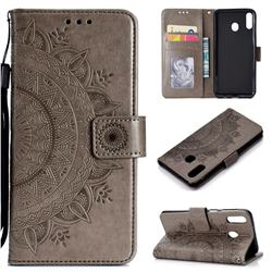 Intricate Embossing Datura Leather Wallet Case for Samsung Galaxy M20 - Gray