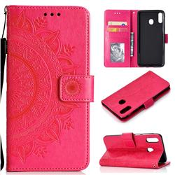 Intricate Embossing Datura Leather Wallet Case for Samsung Galaxy M20 - Rose Red