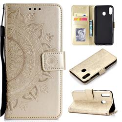 Intricate Embossing Datura Leather Wallet Case for Samsung Galaxy M20 - Golden