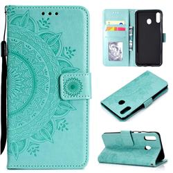Intricate Embossing Datura Leather Wallet Case for Samsung Galaxy M20 - Mint Green