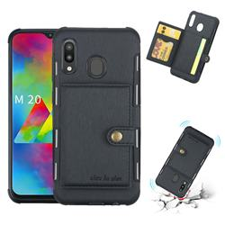 Brush Multi-function Leather Phone Case for Samsung Galaxy M20 - Black