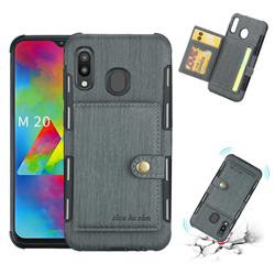 Brush Multi-function Leather Phone Case for Samsung Galaxy M20 - Gray