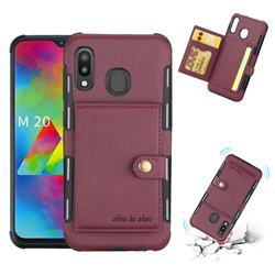 Brush Multi-function Leather Phone Case for Samsung Galaxy M20 - Wine Red
