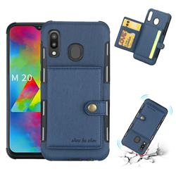Brush Multi-function Leather Phone Case for Samsung Galaxy M20 - Blue