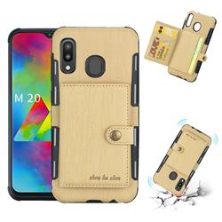 Brush Multi-function Leather Phone Case for Samsung Galaxy M20 - Golden