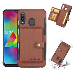 Brush Multi-function Leather Phone Case for Samsung Galaxy M20 - Brown