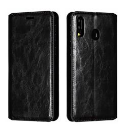 Retro Slim Magnetic Crazy Horse PU Leather Wallet Case for Samsung Galaxy M20 - Black