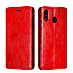 Retro Slim Magnetic Crazy Horse PU Leather Wallet Case for Samsung Galaxy M20 - Red