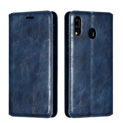 Retro Slim Magnetic Crazy Horse PU Leather Wallet Case for Samsung Galaxy M20 - Blue
