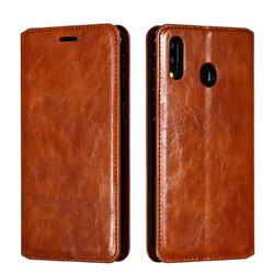 Retro Slim Magnetic Crazy Horse PU Leather Wallet Case for Samsung Galaxy M20 - Brown